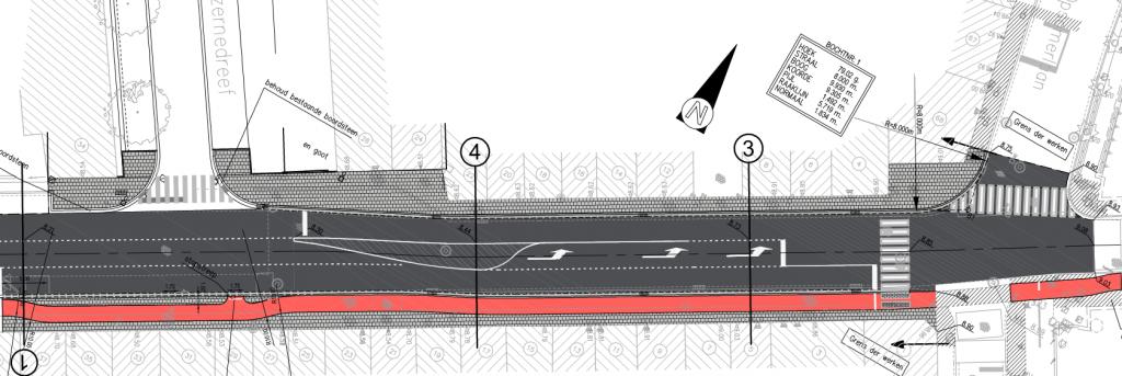 Grondplan kruispunt Kazernedreef
